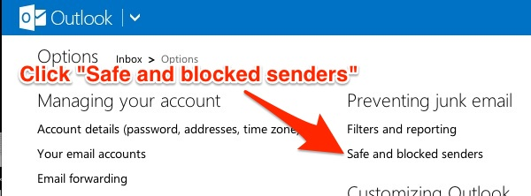 LiveMail 2 Safe Blocked Senders